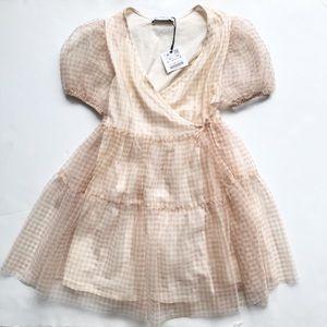 Zara NWT tan gingham tulle wrap dress 10Y